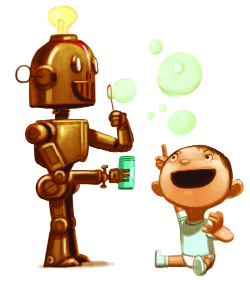 Robot and Bubbles