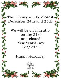Holiday 2015 Closing
